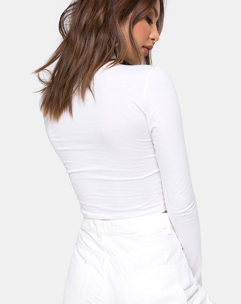 Lara Crop in White with Angel Embro