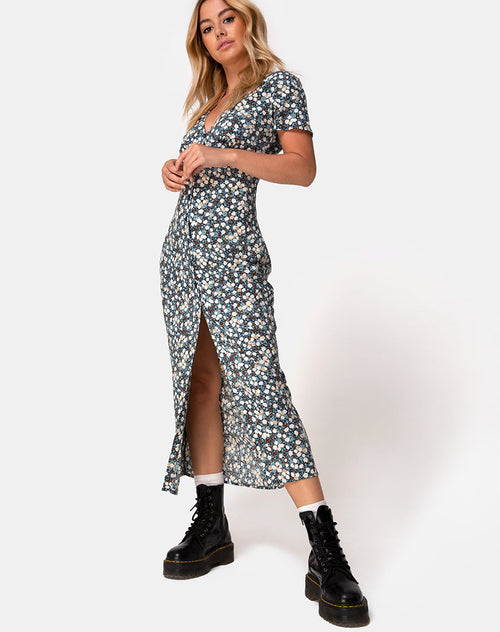 Larin Midi Dress in Floral Field Navy by Motel