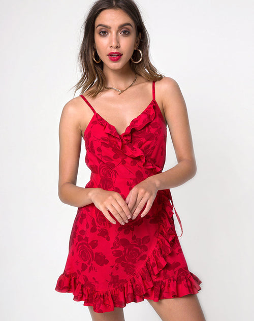 Lasky Slip Dress in Tonal Floral Red by Motel