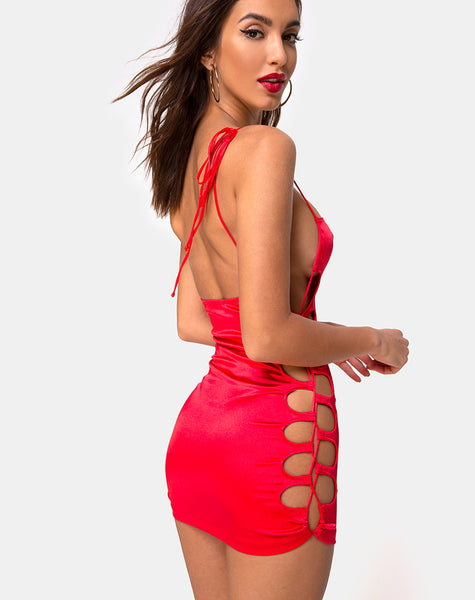 Laticia Mini Dress in Satin Red