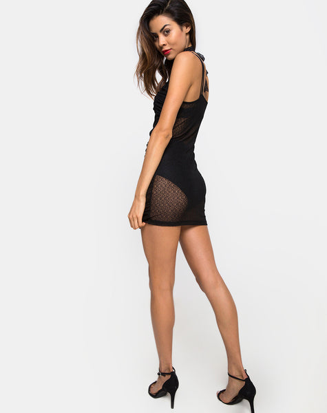 Launa Mini Dress in Lacey Knit Black by Motel