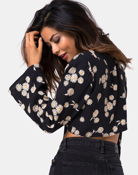 Laya Wrap Top in Grunge Daisy Floral by Motel