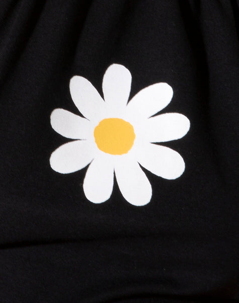 Lean Crop Top in Black Daisy Placement