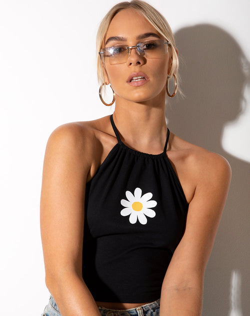 Lean Crop Top in Black Daisy Placement by Motel