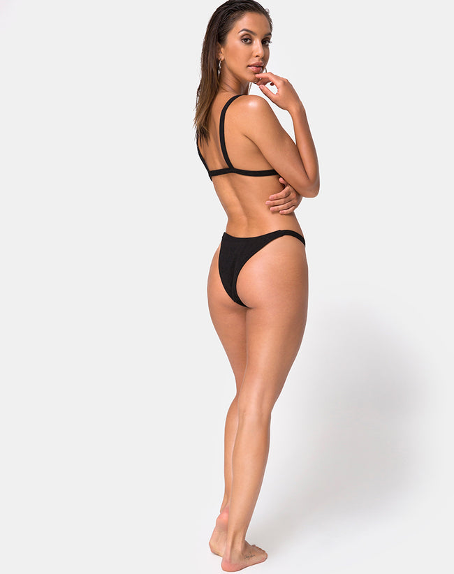 Leema Bikini Bottom in Black Rib by Motel