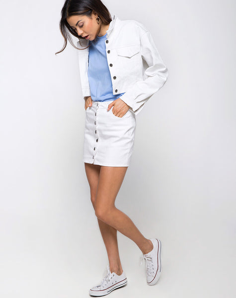 Leisk Mini Skirt in Denim White by Motel