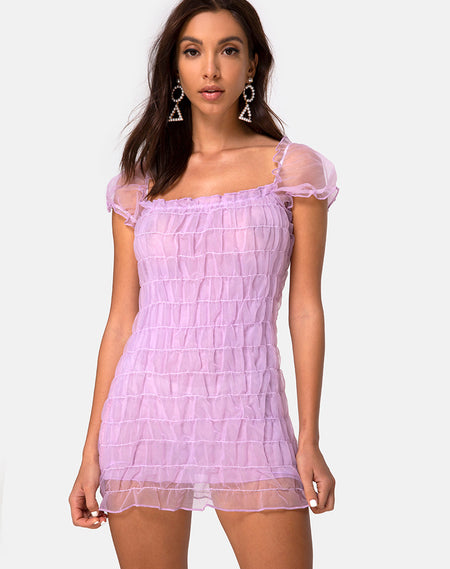 Galot Mini Dress in Daisy Daze Purple by Motel