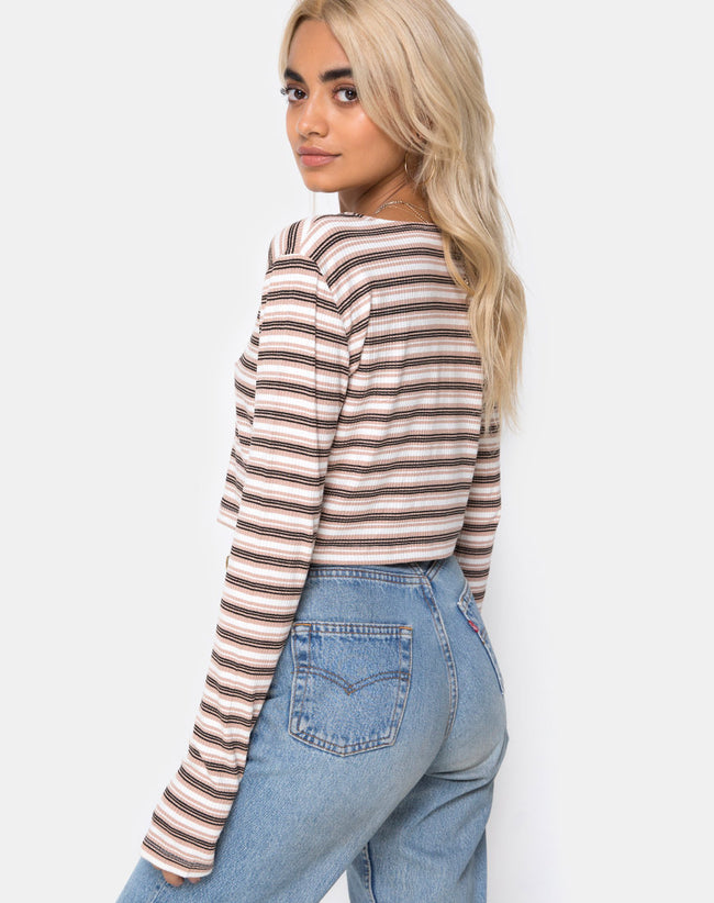 Lesea Crop Top in Rib Stripe Cream Black and Tan by Motel