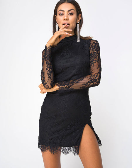 Jezabel Dress in Black Crushed Velvet By Motel