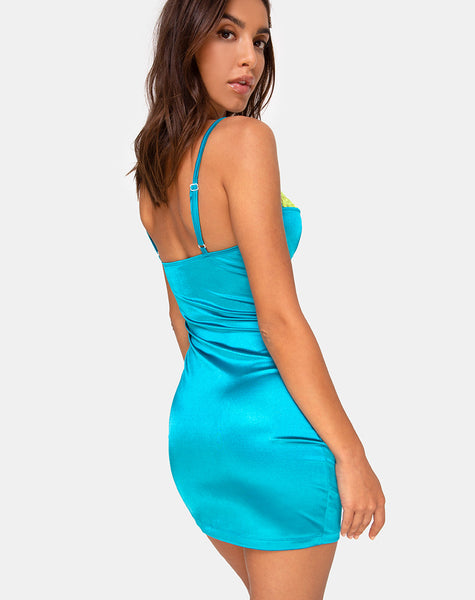 Lesty Dress in Aqua with Lime Lace by Motel