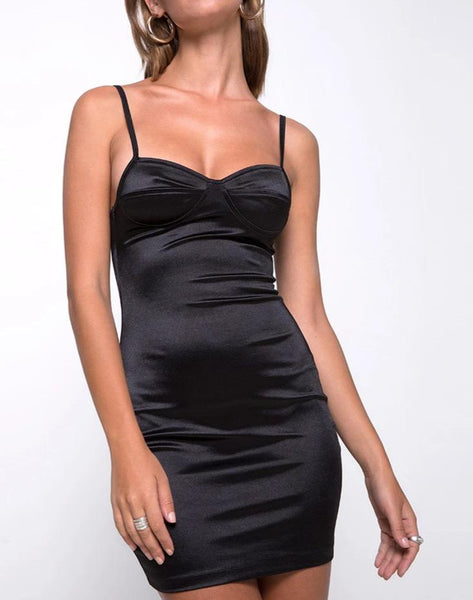Leta Bodycon Dress in Satin Black by Motel