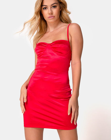 Lonma Dress in Satin Cheetah Red