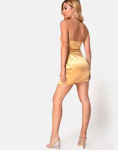 Leta Bodycon Dress in Warm Gold