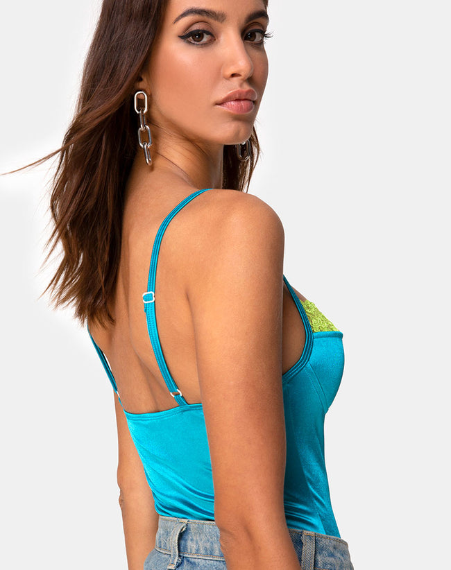 Letta Bodice in Aqua with Lime Lace by Motel