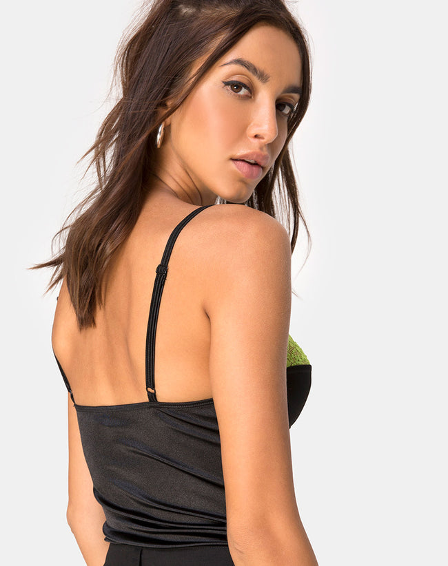 Letta Bodice in Satin Black with Lime Lace Trim by Motel
