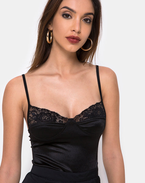 Letta Bodice in Black with Lace Trim