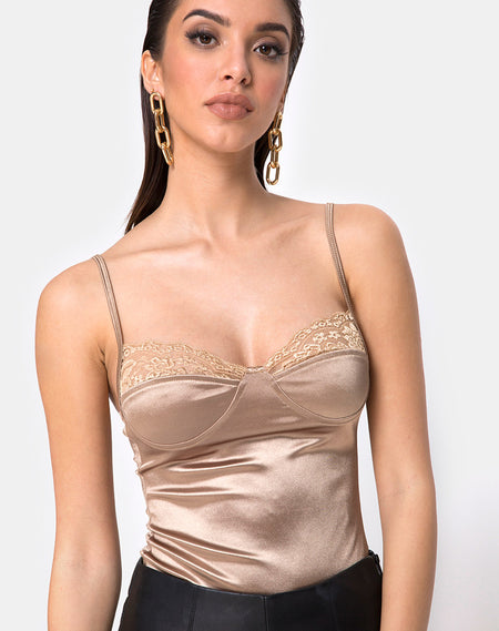 Picola Bodice in Net Tan By Motel