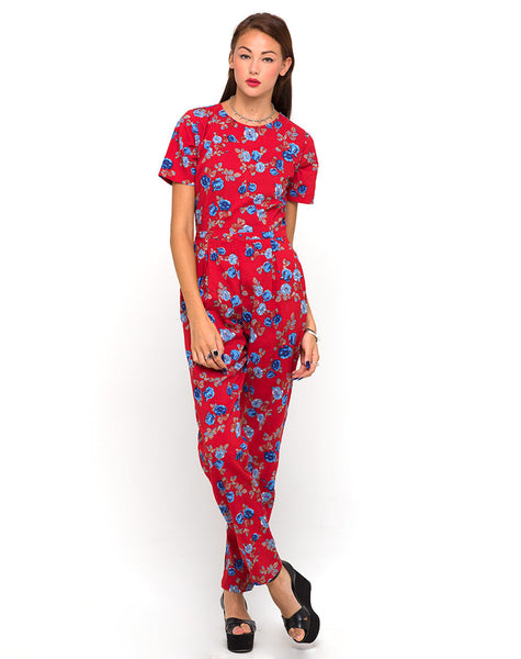 Motel Lilah Full Length Jumpsuit in Winter Rose Red