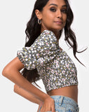 Lilian Crop Top in Floral Field Olive by Motel