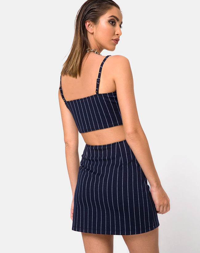 Lilu A Line Skirt in Navy Pinstripe By Motel