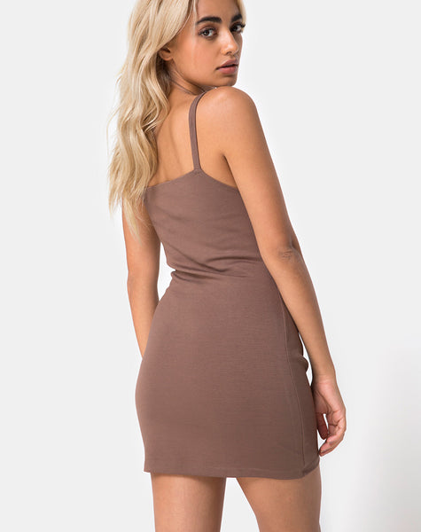Limsie Dress in Cacao with Rectangle Square by Motel