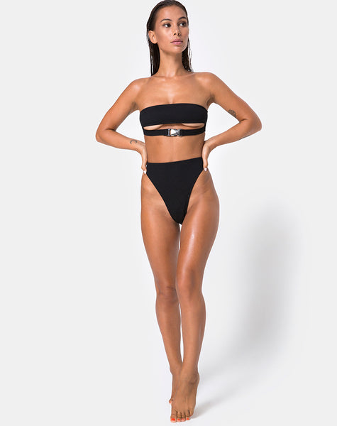 Lin Lin Bikini Top in Black with Silver Derlin by Motel