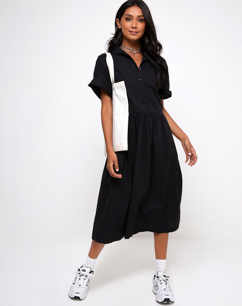 Lista Midi Dress in Black by Motel
