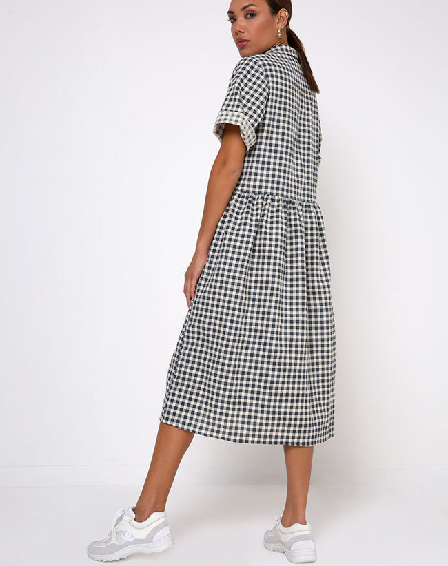 Lista Shirt Dress in Gingham Cream