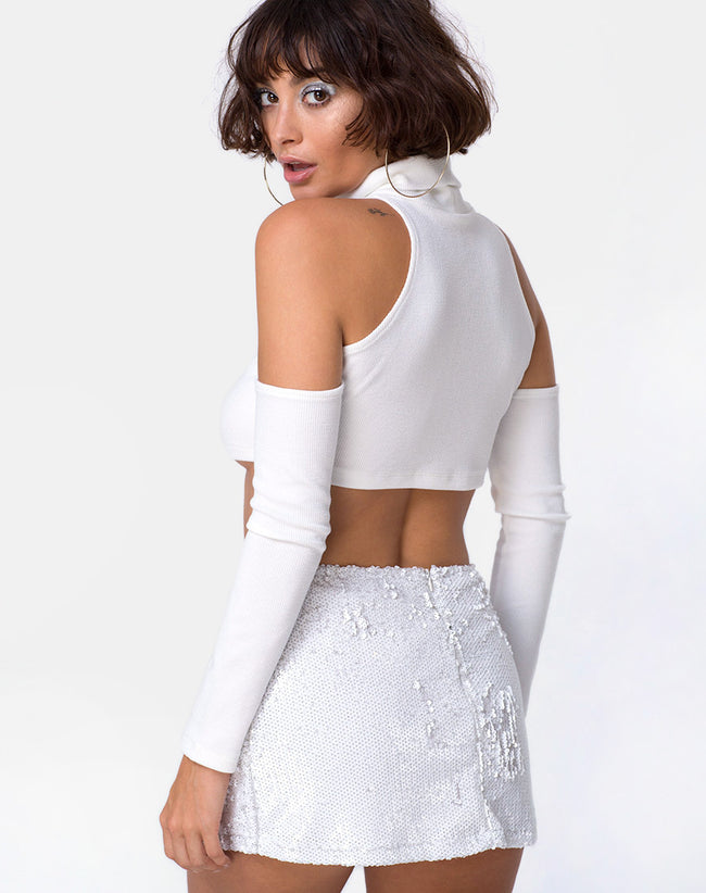 Loaiza Cold Shouder Top in Mini Rib White by Motel