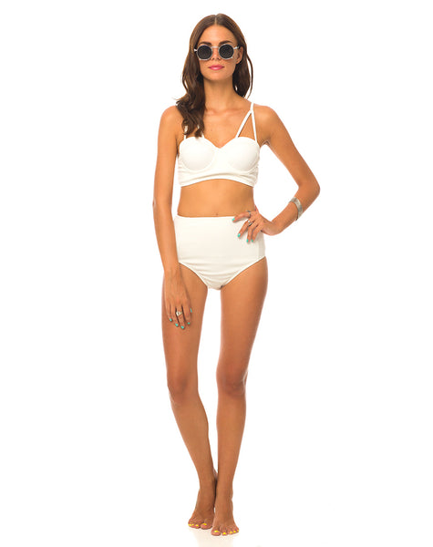 Motel Loe Strappy Bikini Top in White Textured