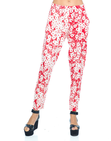 Motel Logan Peg Leg Trouser in Xerox Daisy Red