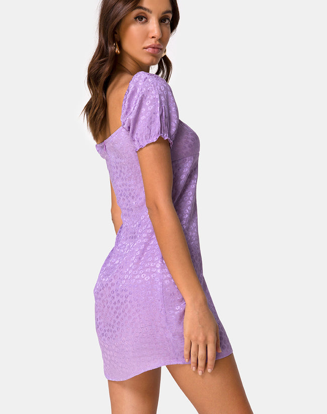Lonma Mini Dress in Satin Ditsy Rose Lavender by Motel