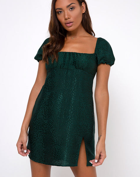 Lonma Mini Dress in Satin Cheetah Forest Green