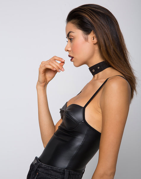 Lonty Bodice in Pu Matte Black by Motel