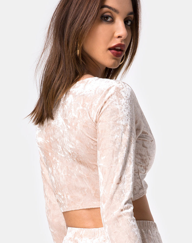 Lorya Crop Top in Cream Crushed Velvet by Motel