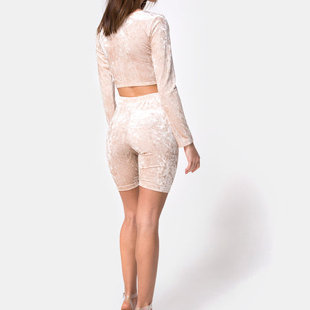 Bike Short in Cream Crushed Velvet