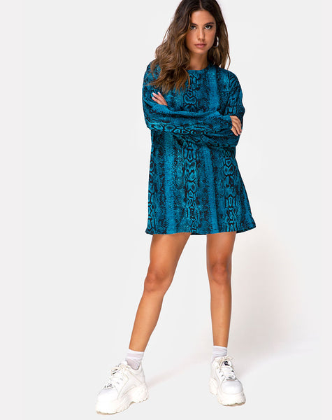 Lotsun Jumper Dress in Snake Blue by Motel