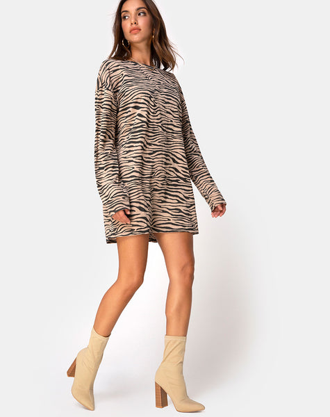 2019 factory price value for money top-rated discount Lotsun Jumper Dress in 90's Zebra Taupe by Motel