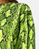 Lotsun Jumper Dress in Snake Lime