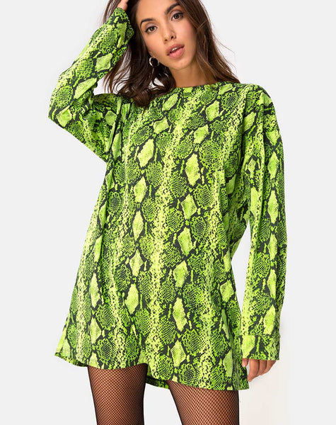 Lotsun Jumper Dress in Snake Lime by Motel