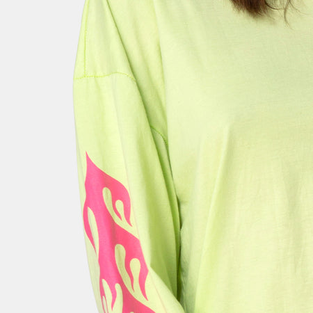 Lotsun Sweatshirt in Flurogreen with Flame by Motel