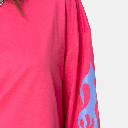 Lotsun Sweatshirt in Pink with Flame by Motel