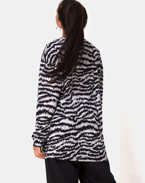 Lotsun Sweatshirt in Animal Drip Grey by Motel