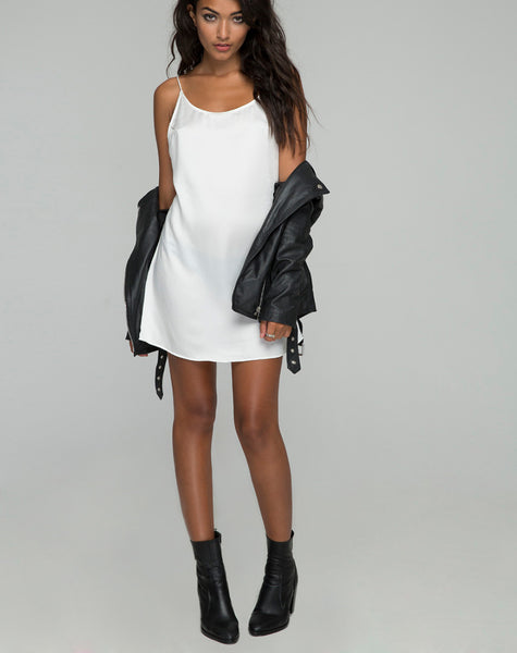 Lucille Slip Dress in Satin Bone by Motel