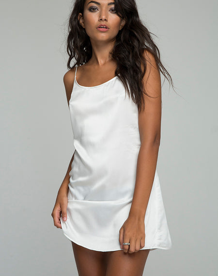 Roppan Slip Dress in Satin Black by Motel