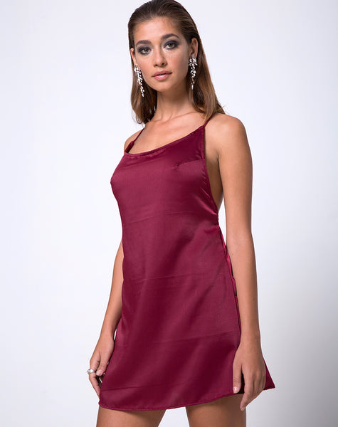 Lucille Slip Dress in Burgundy by Motel