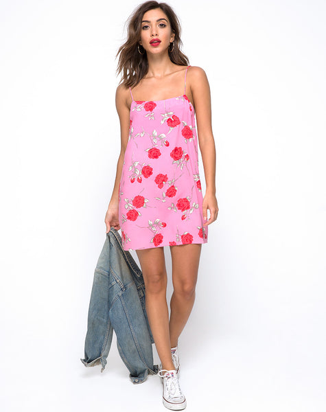 Lura Slip Dress in Candy Rose by Motel