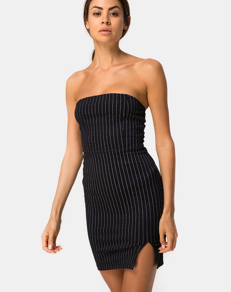 Pendan Bodycon Dress in Rib Black by Motel