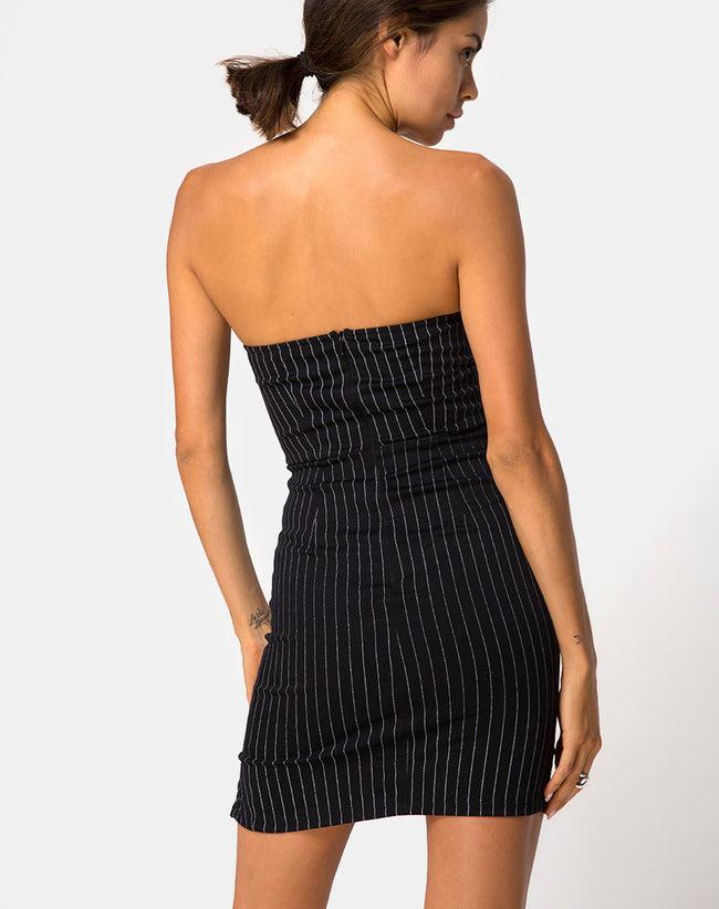 Luveries Dress in Pinstripe Black By Motel