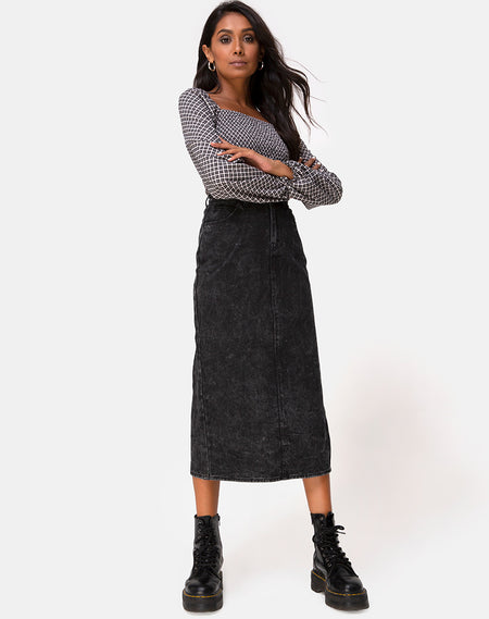 Sika Midi Skirt in PU Croco Black by Motel